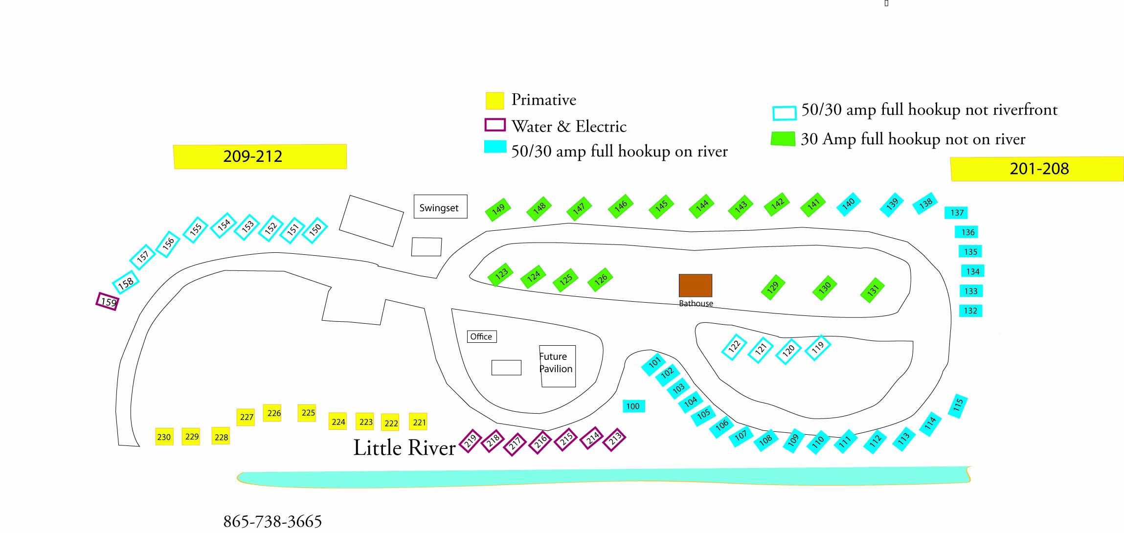 Little River Campground & RV Resort campsite map